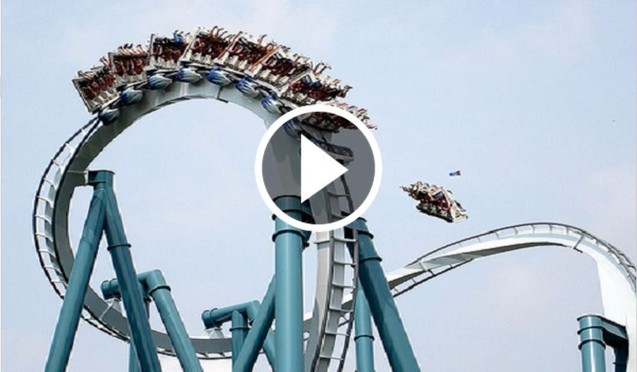 OMG An accident on Roller Coaster in Disneyland Paris full