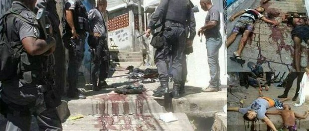"This picture was posted by the police on their Facebook page, where they bragged about their ""successful"" work. They say: ""We don't go into favelas to die. We go in there to kill."""