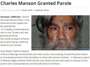 Charles Manson Granted Parole in 2014