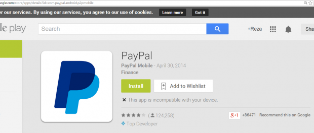 PayPal application needs to be downloaded