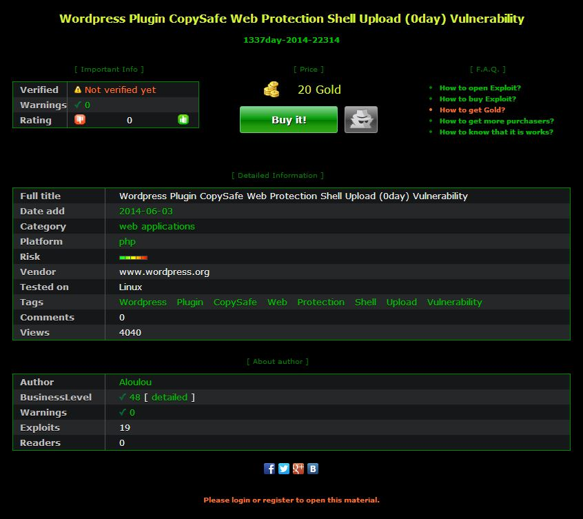 WARNING] 0day WordPress CopySafe Web Protection Shell Upload