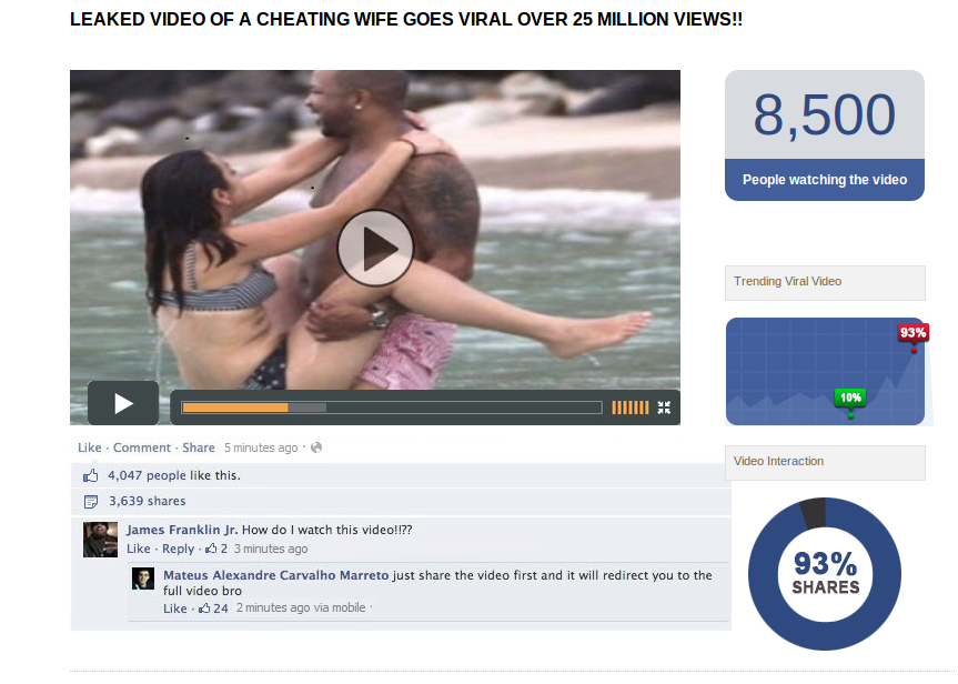 Facebook: LEAKED VIDEO OF A CHEATING WIFE GOES VIRAL OVER