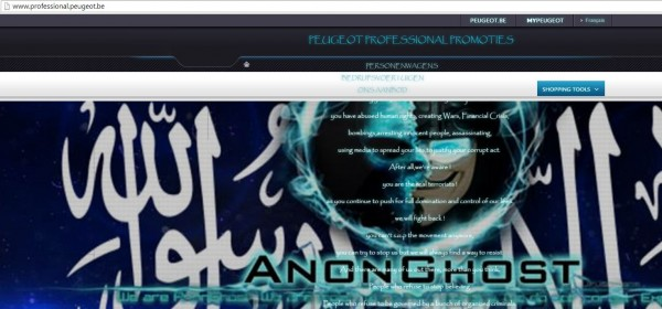 Peugeot hacked by Anonghost