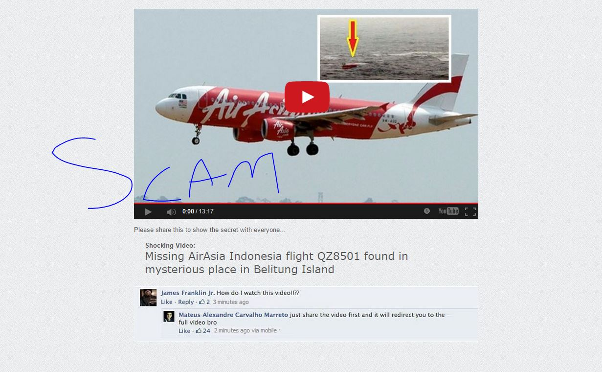Beware of the fake AirAsia QZ8501 videos which are being shared on.