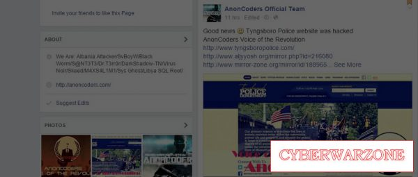 AnonCoders hack on Facebook