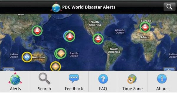 Disaster Alert application for Android