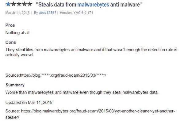 It steals information from MalwareBytes