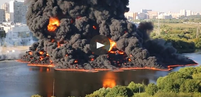 Moscow River Catches Fire After Underground Pipeline