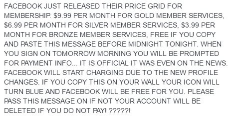 facebook price grid hoax